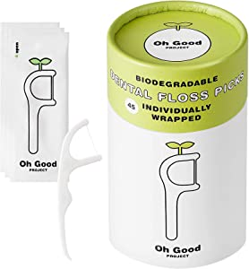 Oh Good Project Natural Flosser- Biodegradable Dental Floss Picks (Pack of 2) - Vegan, Organic, Sustainable, Eco-Friendly, Plant-Based, Individually Wrapped, Zero Waste flossers for Adults (90 Count)
