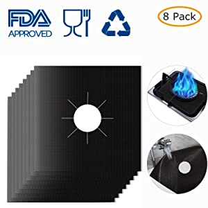"Stove Burner Covers,MSDADA Gas Range Protectors, 0.2 mm Double Thickness,Reusable, Non-Stick, Easy to Clean 10.6"" x 10.6"" (8-Pack)"