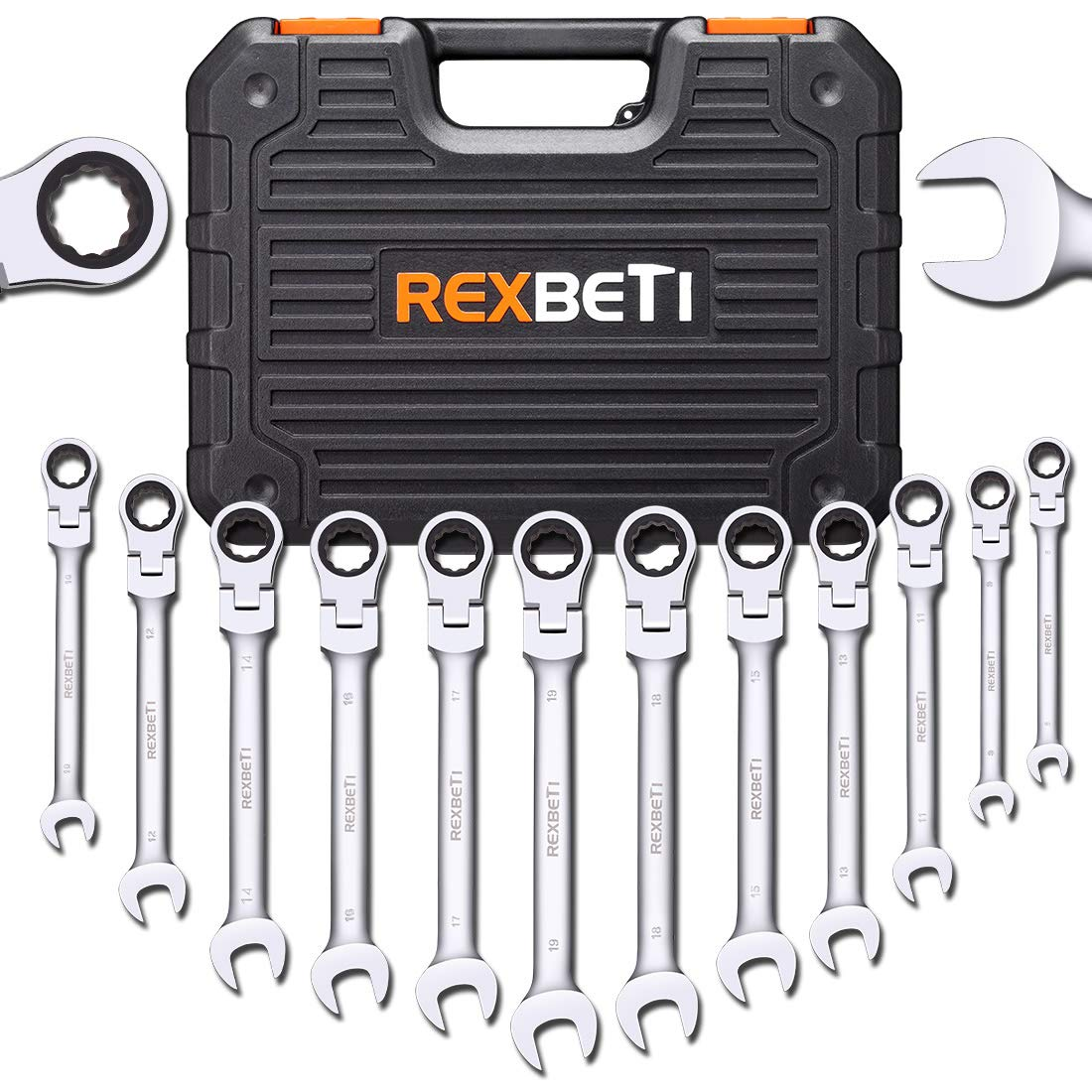 REXBETI 12-Piece Metric Flex-Head Ratcheting Wrench Set, 8-19MM, Chrome Vanadium Steel Combination Wrench Set With Durable Blow Mold Case by REXBETI (Image #1)