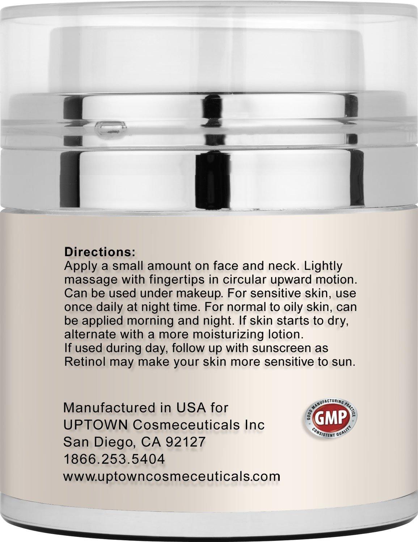 Retinol amounts in moisturizers - Amazon Com Uptown Cosmeceuticals Retinol 2 5 Cream For Eye Anti Wrinkle 50ml Beauty