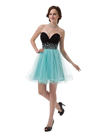 Chuanyi Womens Short Beaded Homecoming Dresses Juniors Mini Prom Cocktail Gowns, Green, ...