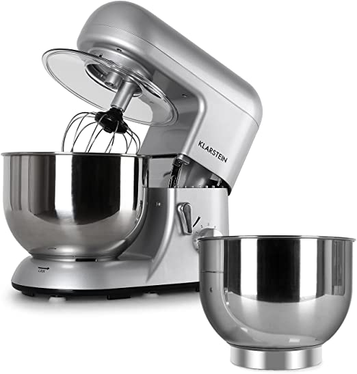 Klarstein Bella Argentea Set Robot de cocina y accesorios (1200W de potencia, velocidad ajustable, acero inoxidable) - plateado: Amazon.es: Hogar