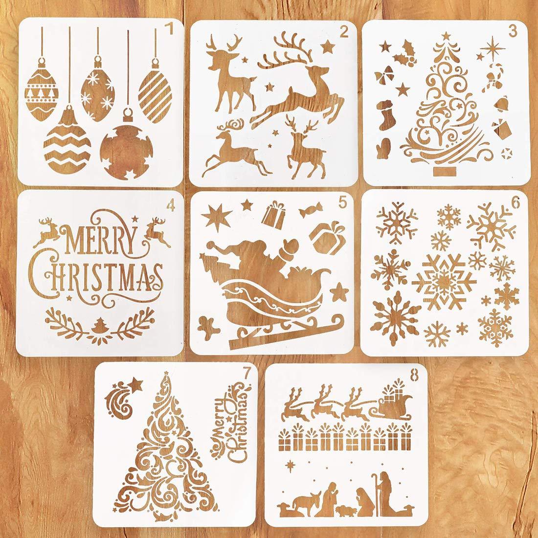 Fotoalbum weihnachtsdeko Scrapbooking Weihnachtskarten Howaf Weihnachts schablonen Set 16 St/ück Kunststoff Zeichnung Malerei Schablone f/ür Bullet Journal K/örpermalfarben