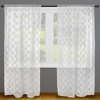 Home Essentials DII Sheer Lace Decorative Curtain Panels For Bedroom, Living  Room, Guest Room