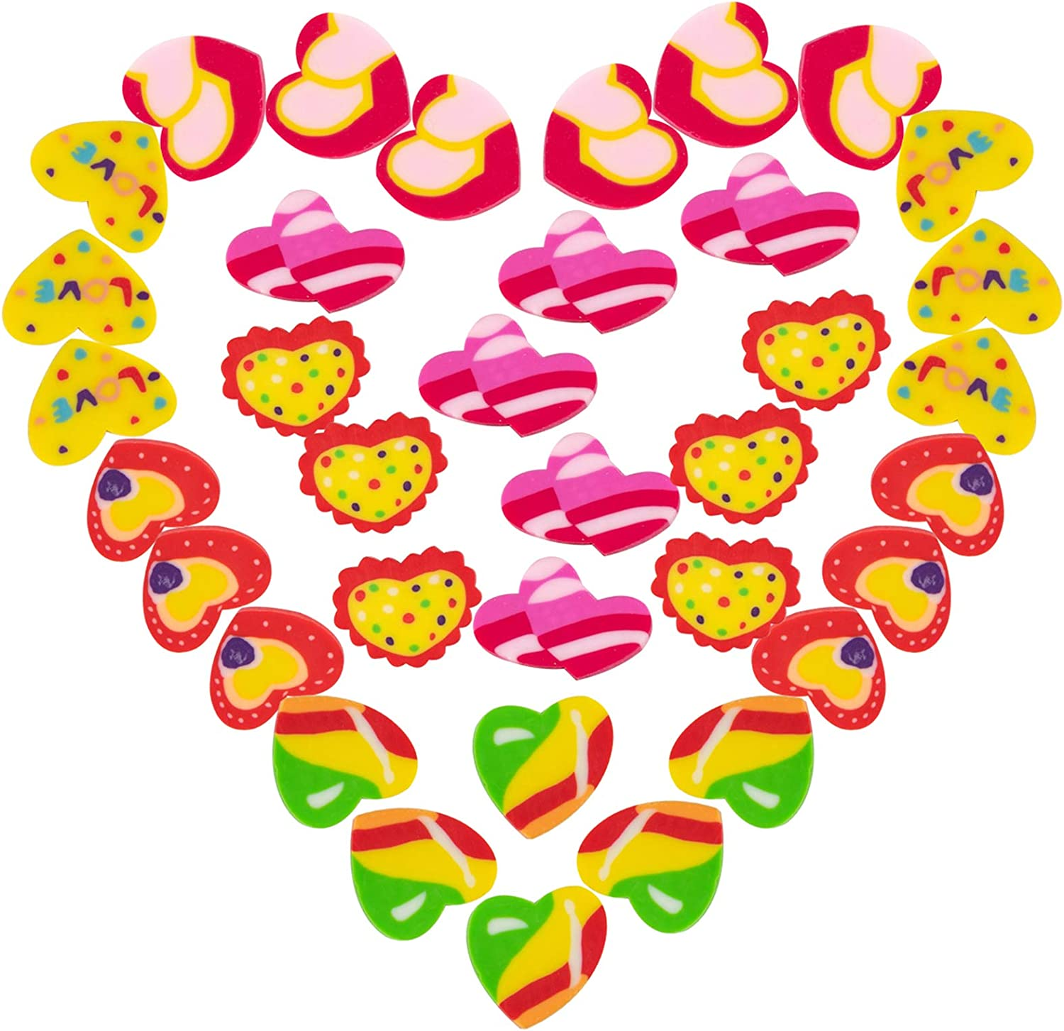 Biubee 36 Pcs Valentine's Day Hearts Shaped Erasers- 6 Various Styles Mini Heart Valentines Rubber Eraser for Valentine Party Favors Gifts School Classroom Teacher Rewards Office Supplies