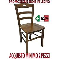 SF SAVINO FILIPPO Ordine min. 2 pz sedia paesana in legno massello noce con seduta in legno