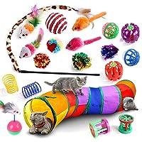 Juego de 20 juguetes para gatos y gatitos, túneles de gato plegables para gatos de interior, juguete interactivo de…