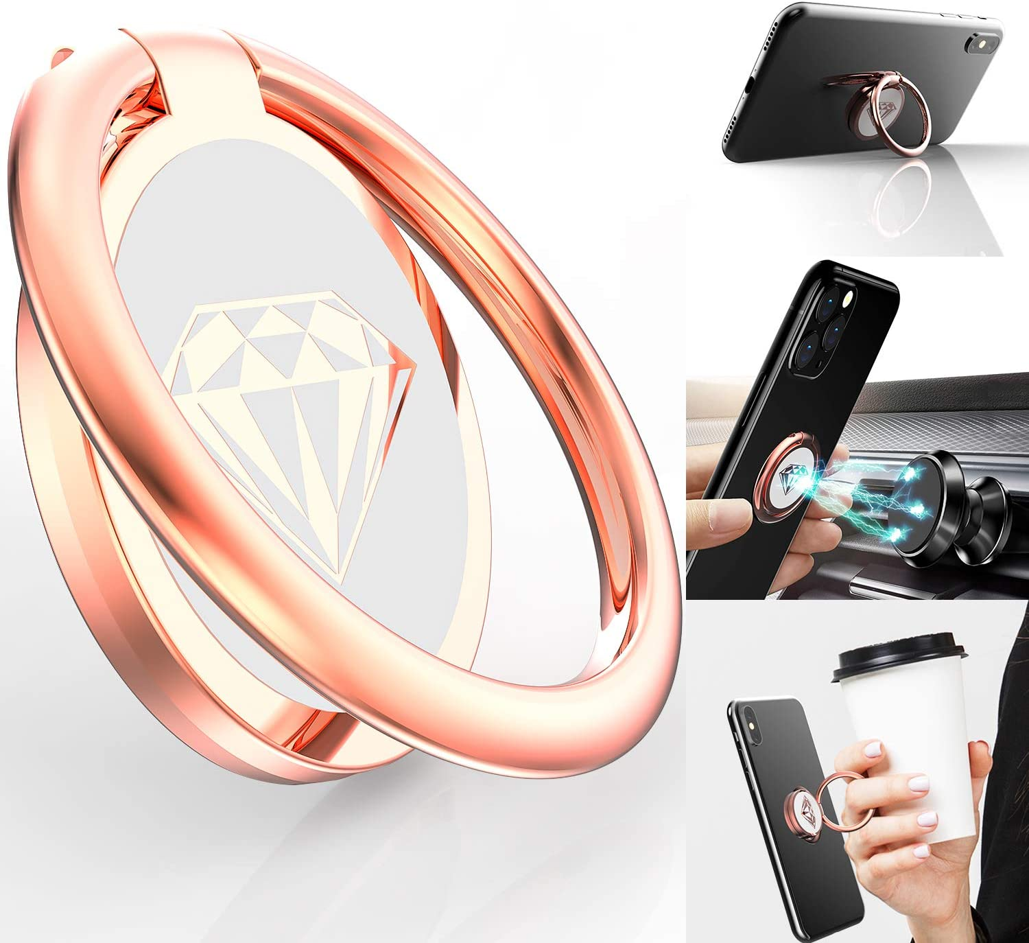 Phone Ring Holder Finger Kickstand, A-Maker 360° Rotation Metal Phone Ring Stand,Phone Ring Grip for Magnetic Car Mount Compatible with iPhone, Samsung Galaxy All Smartphone (Rose Gold)