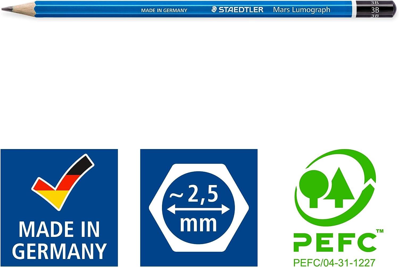 Staedtler Mars Lumograph 3B - Lápiz Azul, lote de 12 unidades: Amazon.es: Oficina y papelería