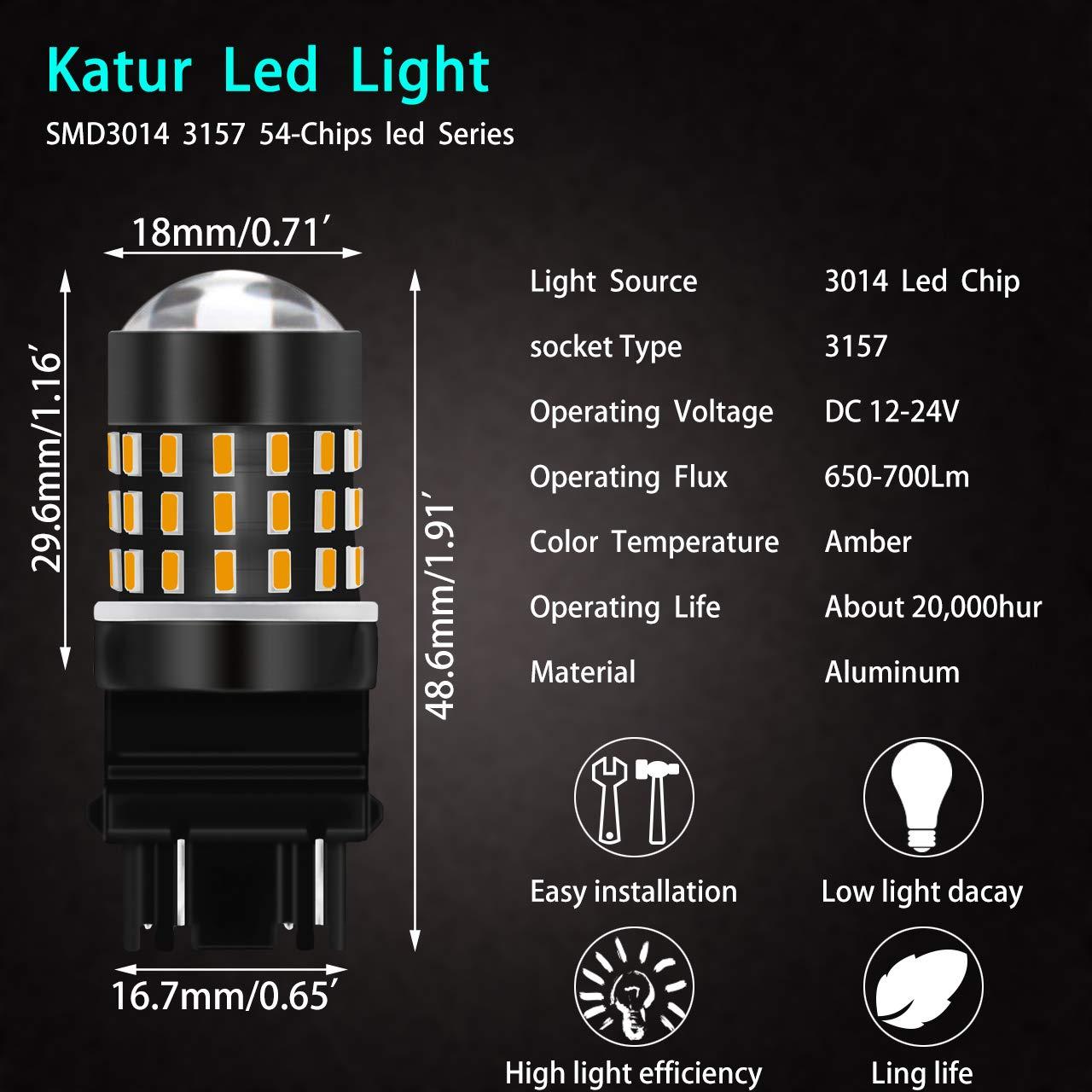 KaTur 3157 3047 3057 3057A 3155 3157A 3056 3156 3014 54SMD - Juego de 4 Bombillas LED de Repuesto para Intermitentes de Freno de Coche (4 Unidades), ...