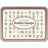 Cavallini Mini sellos de goma de madera de letras minúsculas 30varios colores se envía en una lata