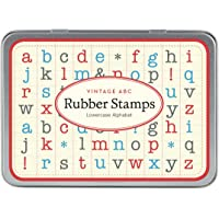 Cavallini Sellos Pequeños de Caucho con Alfabeto en Letras Minúsculas, Surtido de 30 Piezas, Empacados en una Caja de Lata