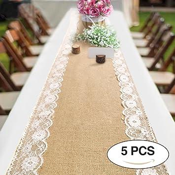 Jute Tischlaufer Spitze Sackleinen Hochzeit Tischlaufer Naturliche