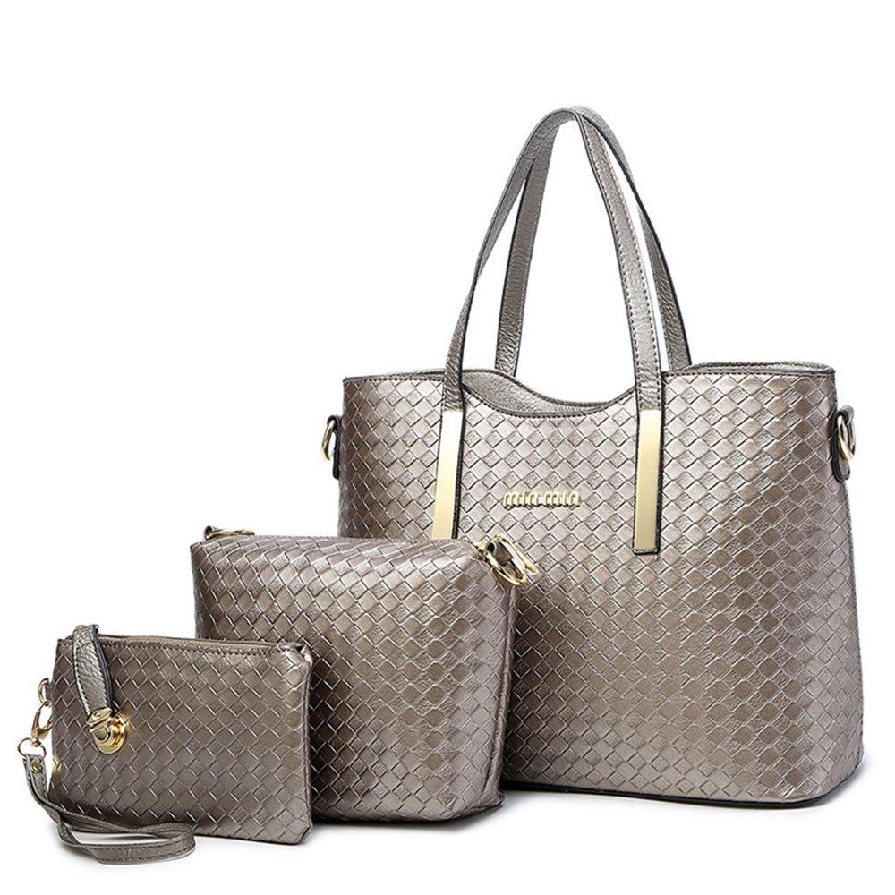 Tibes Fashion PU Leather Women Handbag+Shoulder Bag+Purse 3pcs Bag Weave  Tote 111shoutibao22-mibaise 4e8467bcd72ce