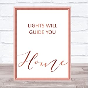 Rose Gold Lights Will Guide You Home Song Lyric Quote Print