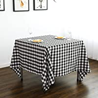 Lycra Home Square Checkered Tablecloth 52 x 52 Inch for Family Holiday,Camping Picnic,Black& White