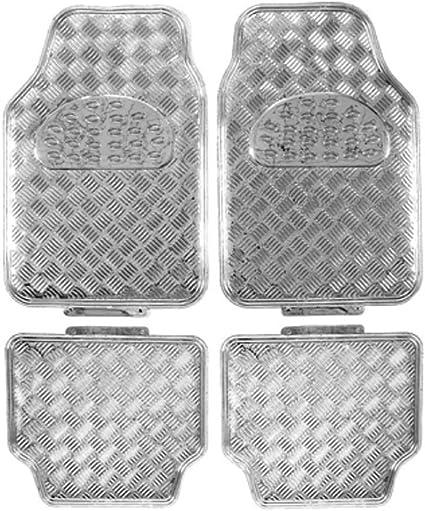 MODAUTO Juego Alfombrillas Antideslizante Imitaci/ón Metal para Coche 4 Elementos Plateado G800