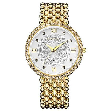 modiwen tendencia de moda diamante vestido de las mujeres relojes de lujo, golden plateado mujer