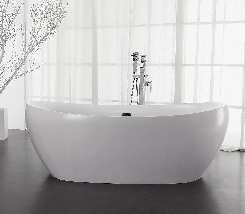 Soporte de diseño bañera de mineral de hierro fundido de bañera de piedra artificial de colour blanco brillante L/B/H 185 x 91 x 67