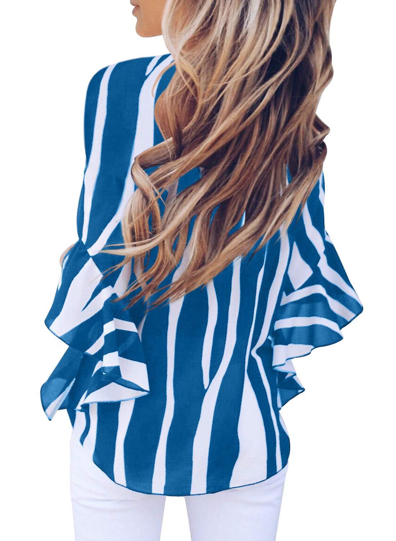 Aleumdr dam randigt tryck av axel 3 4 flare ärm slips knut blusar toppar vardagliga skjortor En blå