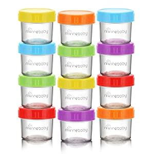 Baby Food Storage Containers, QOOC 12 Set BPA-Free Stackable Glass Baby Food Jars with Lids, Airtight Reusable Glass Baby Food Containers, Freezer/Microwave/Dishwasher Friendly, 4 oz, Multicolors