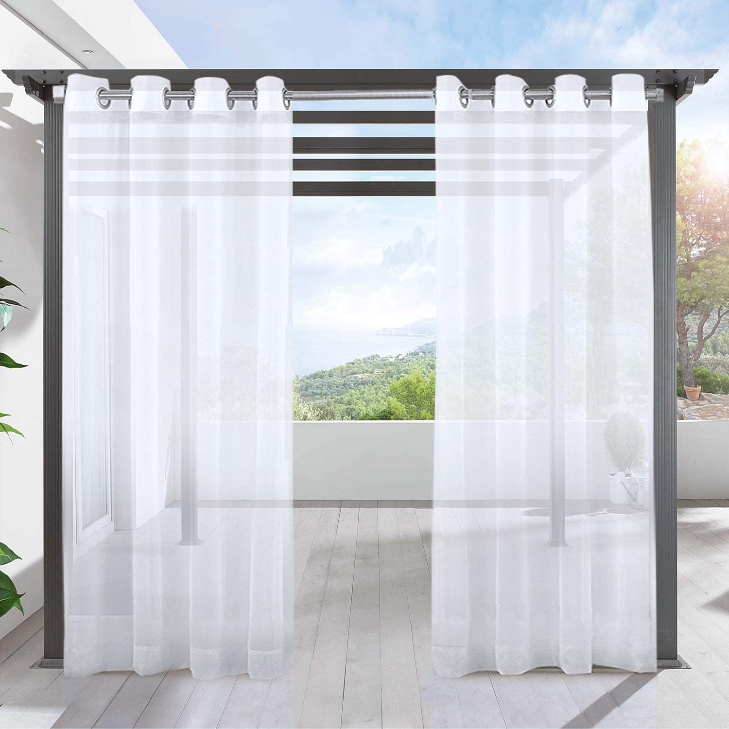 """LIFONDER Sheer Outdoor Curtain Panels - Ring Top White Waterproof Patio Curtains Canopy Drapes Blinds for Privacy, Porch, Gazebo, Deck and Pergola with 1 Tieback, 54"""" W X 96"""" L, 1 Piece W54"""" X L96""""-1 Pc White-grommet"""
