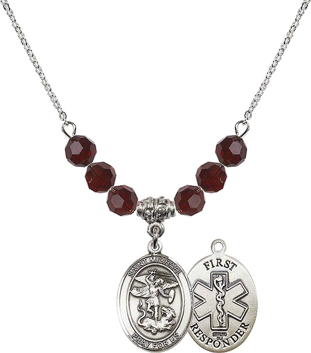 Bonyak Jewelry 18 Inch Rhodium Plated Necklace w// 6mm Red January Birth Month Stone Beads and Saint Michael//1St Responder Charm