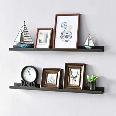 WELLAND Vista Picture Ledge Floating Ledge Wall Shelves, 36-inch, Set of 2, Espresso