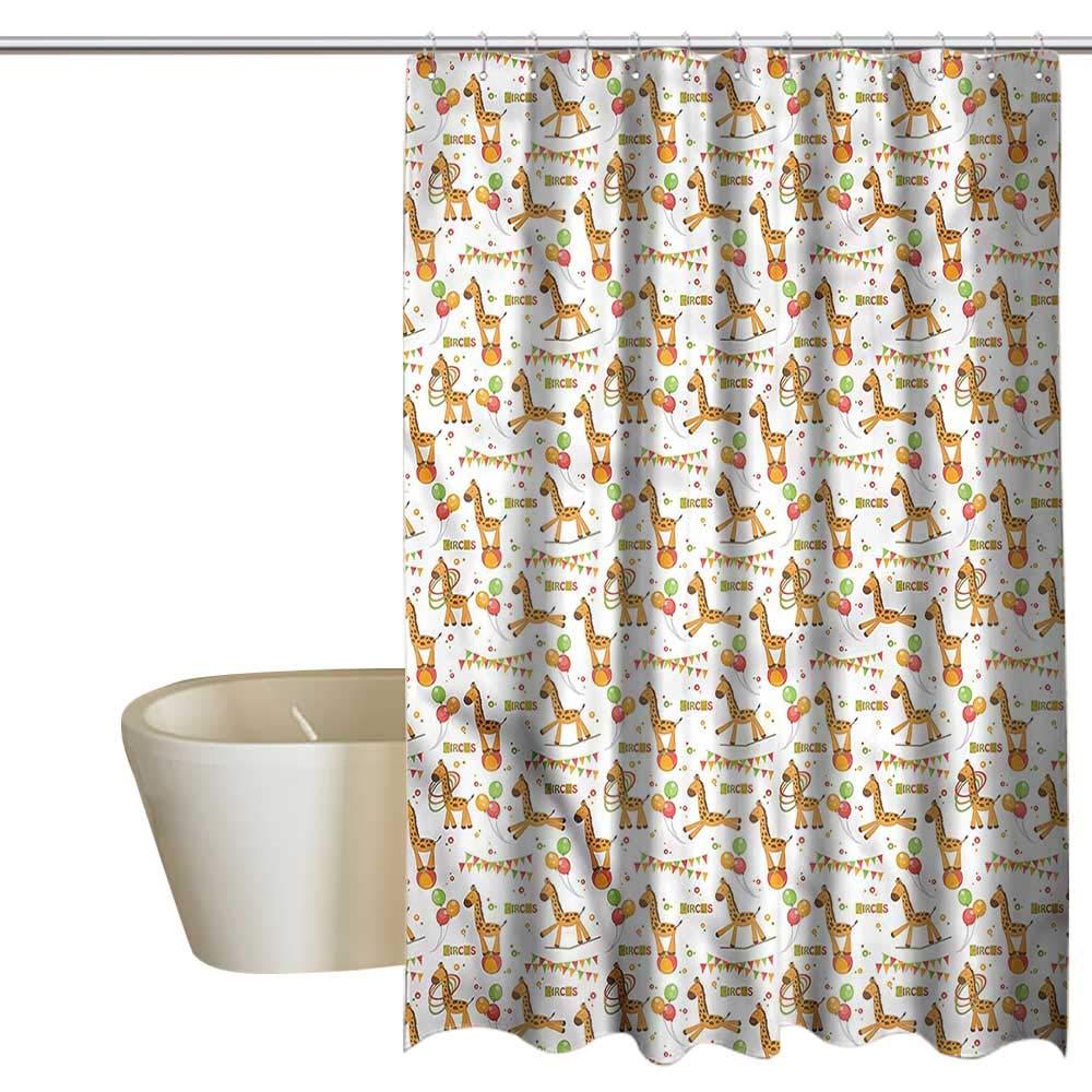 Denruny Shower Curtains Dolphins Giraffe,Playful Cartoon Circus,W55 x L84,Shower Curtain for Girls Bathroom