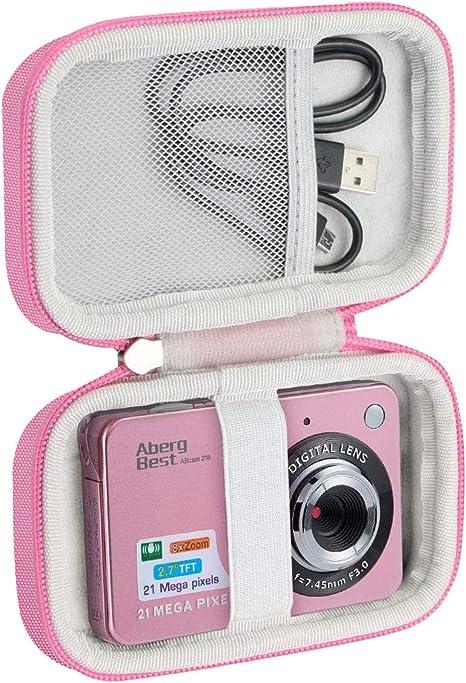 Khanka Duro Viaje Estuche Bolso Funda para Compactas Cámaras Digitales AbergBest 2.7/ATian Compactas LCD HD Cámara(Case Only) (Rosa&Blanco): Amazon.es: Electrónica