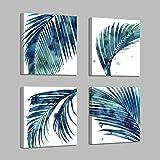 Tropical Botanical Leaves Wall Canvas: Artistic Style Watercolor Drip Leaf Wall Art Blue Palm Leaf Artwork Prints Wall Art fo