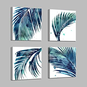 Tropical Botanical Leaves Wall Canvas: Artistic Style Watercolor Drip Leaf Wall Art Blue Palm Leaf Artwork Prints Wall Art for Home Kitchen (12'' X 12'' x 4 Panels)