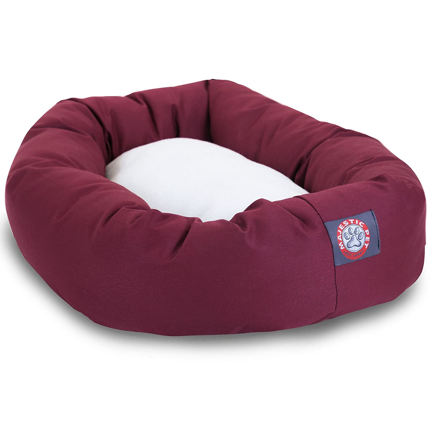 amazon com 40 inch burgundy sherpa bagel dog bed by majestic