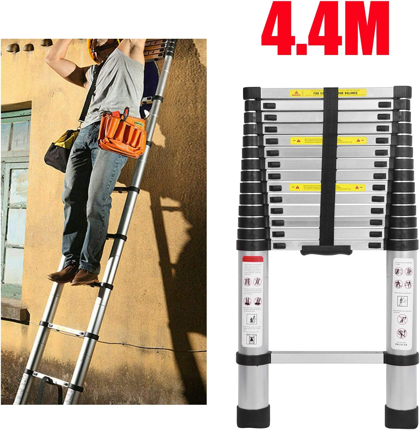 Schiebeleiter 2,6m Teleskopleiter Alu-Klappleiter Mehrzweckleiter Rutschfester Ausziehbare Robust Stehleiter 150 kg//330 Pfund Belastbarkeit