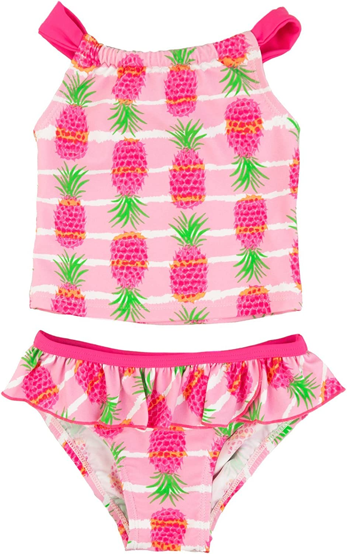 Floatimini Little Girls Pineapple Stripe Print Back Neck Tie Tankini Set