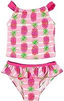 Floatimini Little Girls' Pineapple Stripe Print Back Neck Tie Tankini Set