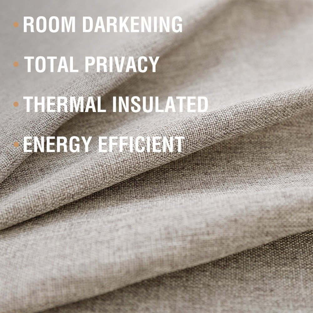Tie-up Valances for Windows Linen Textured Room Darkening Adjustable Tie Up Shade Window Curtain Rod Pocket Tie-up Valance Curtains 18 Inches Long (1 Panel, Greyish Beige) by jinchan (Image #4)