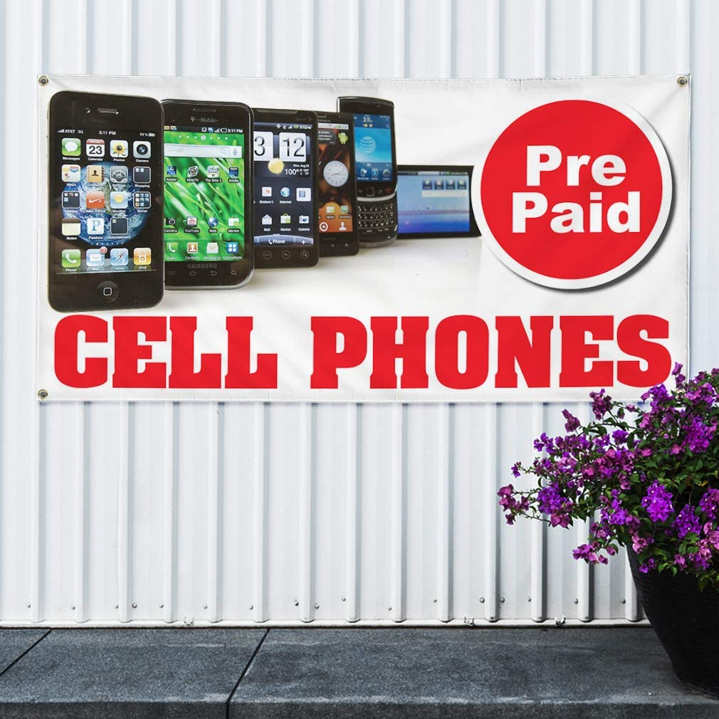 One Banner Vinyl Banner Sign Pre Paid Cell Phones Business Retail Marketing Advertising White 48inx96in Multiple Sizes Available 8 Grommets