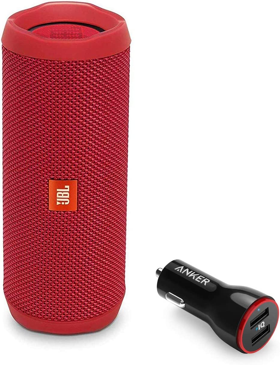JBL Flip 4 Portable Bluetooth Wireless Speaker Bundle with Anker PowerDrive 2 2-Port USB Car Charger - Red