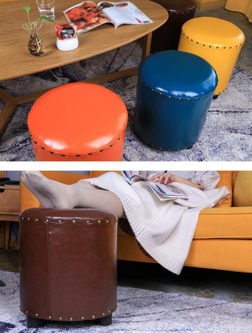 Annp Runde Dressing hocker, Schlafzimmer pu Low hocker hocker Wohnzimmer kreative holzrahmen ändern die schuhbank, 34 * 40 cm (Farbe : Gelb) Brown