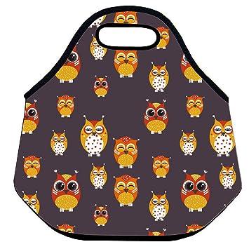 CELYCASY - Bolsa de neopreno para el almuerzo, diseño de búhos con aislamiento de emoji