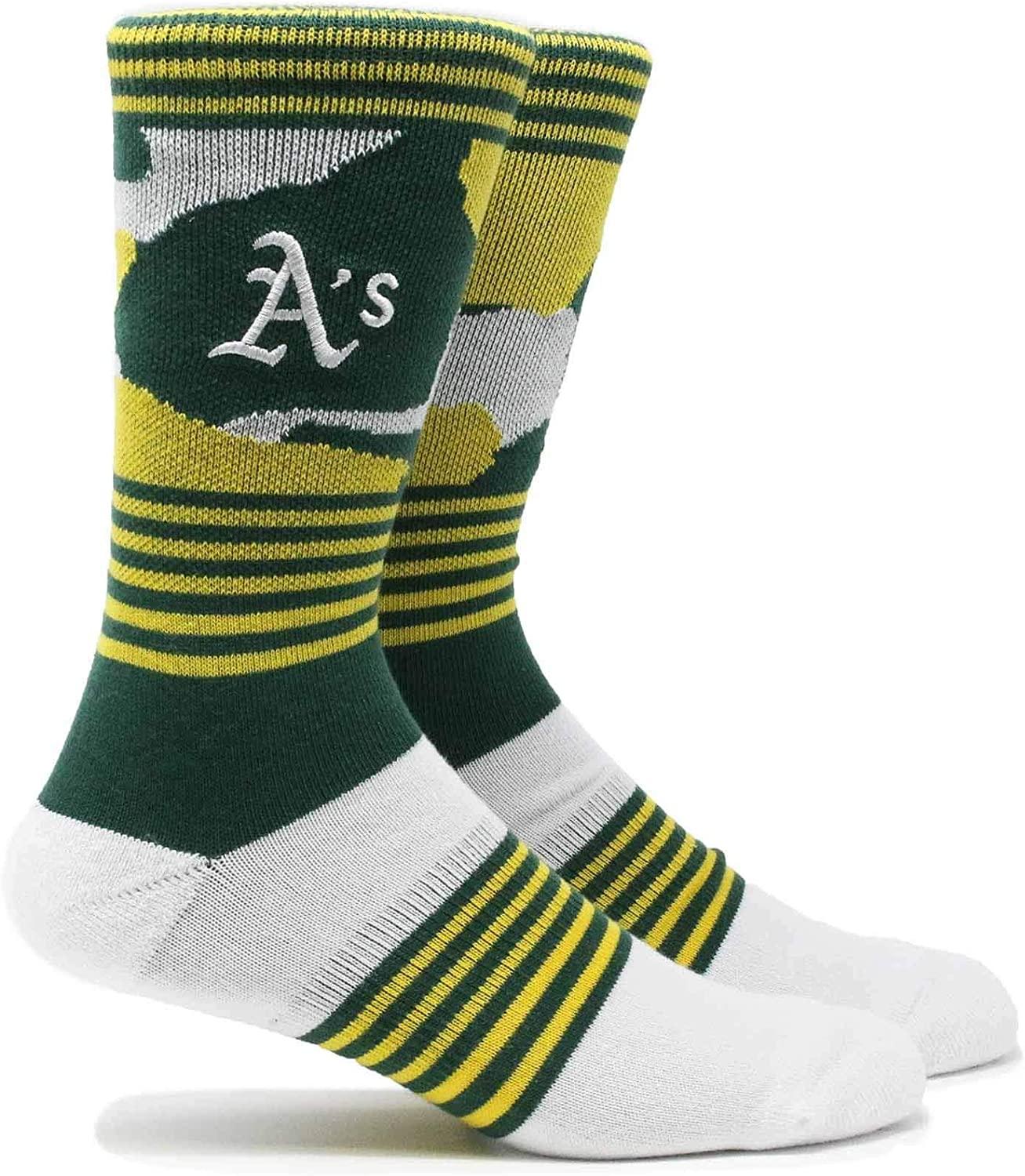 PKWY MLB Mens Clubhouse Collection 3-Pack Socks Large, Oakland Athletics