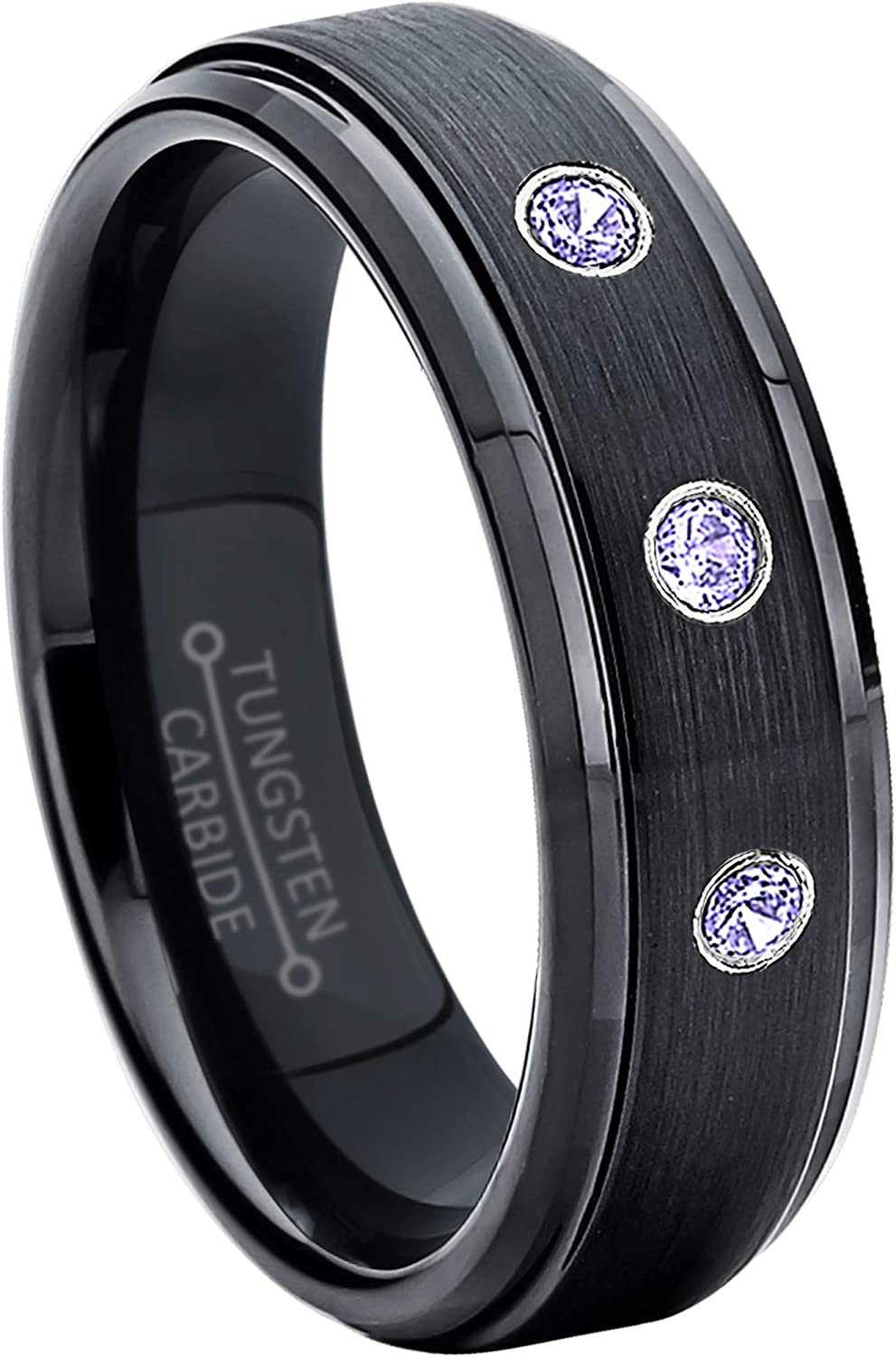 Jewelry Avalanche 6MM Brushed Black IP Stepped Edge Tungsten Carbide Wedding Band December Birthstone Ring 0.21ctw Tanzanite 3-Stone Tungsten Ring