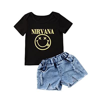 2Pcs Baby Boy Girl Clothes Set Simle Face Short Sleeve Black T-Shirt + Jean Denim Shorts Outfit