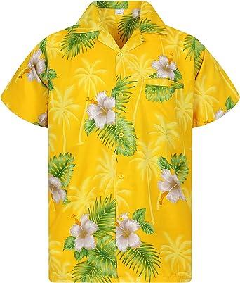 Original King Kameha | Funky Camisa Hawaiana Señores | XS-12XL |Manga Corta Bolsillo Delantero | Impresión de Hawaii | Small Flower