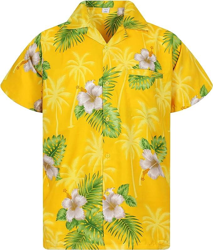 XS Funky Camicia Hawaiana pi/ù Colori 12XL Tasca-Frontale Originale King Kameha Cranio Uomo Manica Corta