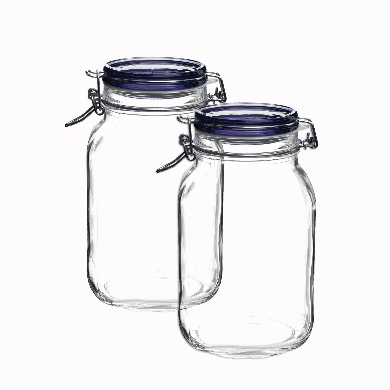 Bormioli Rocco Fido Square Jar's With Blue Lid, 67-3/4-ounce (set of 2)