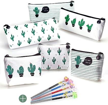 FAVENGO 6 Pcs Estuche para Lapices de Tela Estuche de Lona de Cactus Cartuchera para Lapices Bolsa para Lapices Estuches Escolares Grandes Estuches Organizadores de Lapices para Niño Mujer + 5 Lapices: