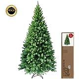 RS Trade® 150 cm ca. 620 Spitzen hochwertiger künstlicher Weihnachtsbaum mit Metallständer, Minutenschneller Aufbau mit Klappsystem, schwer entflammbar, HXT 1101