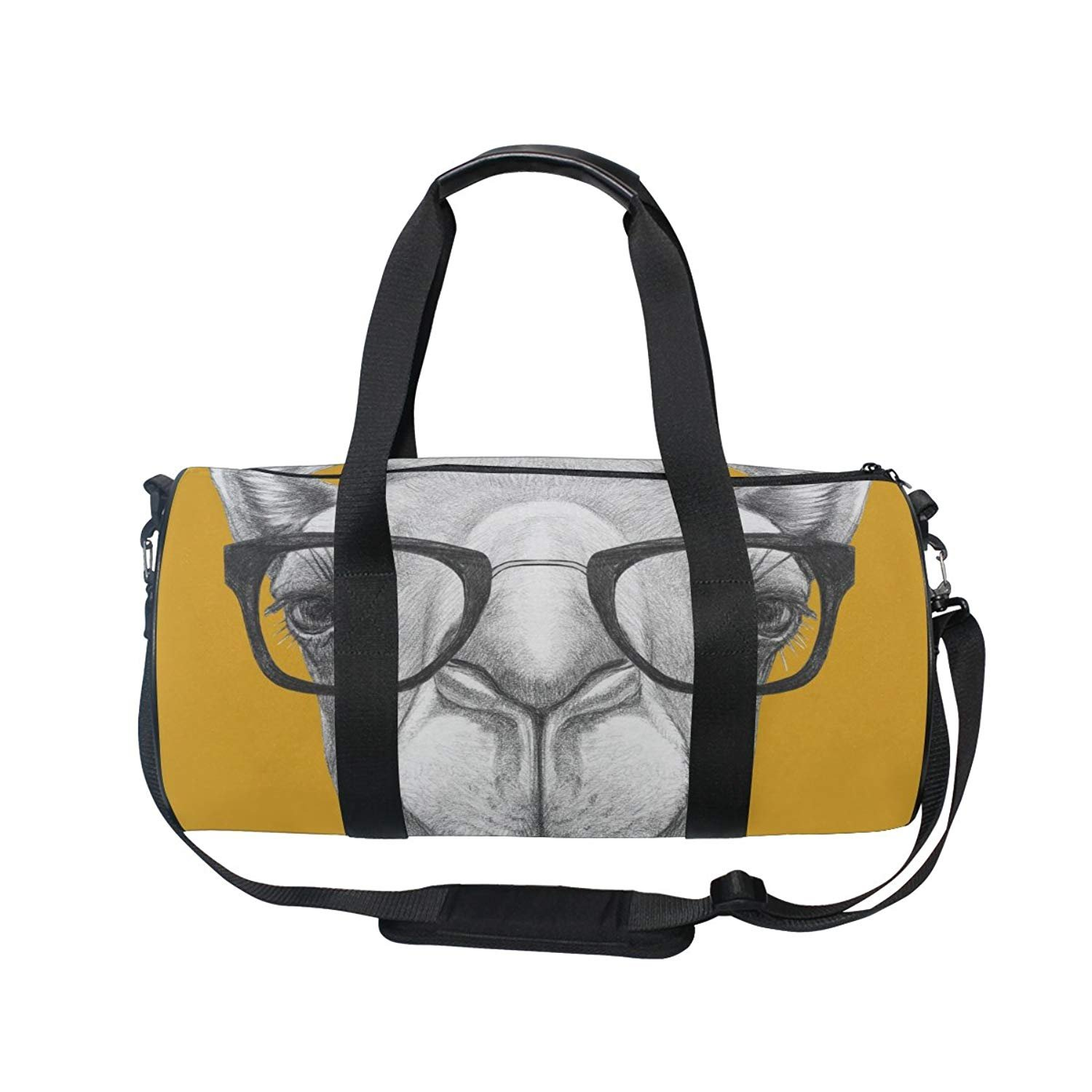 Sports Bag Funny Camels In Sunglasses Mens Duffle Luggage Travel Bags Kid Lightweight Gym bag